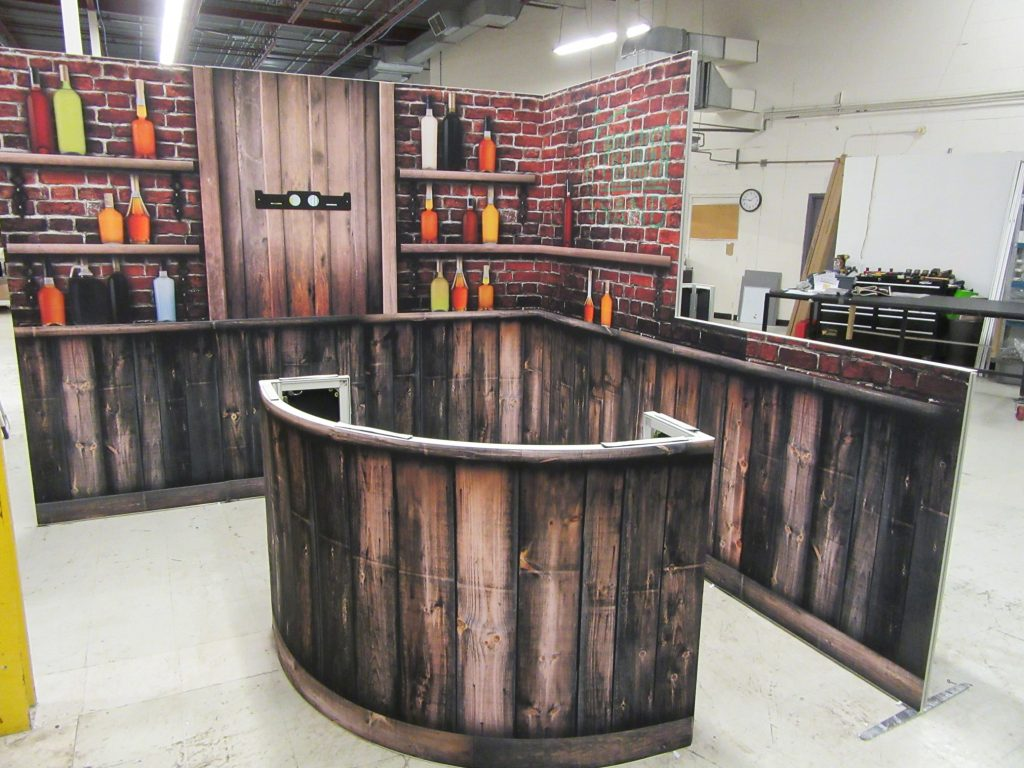trade show booth looks like a bar